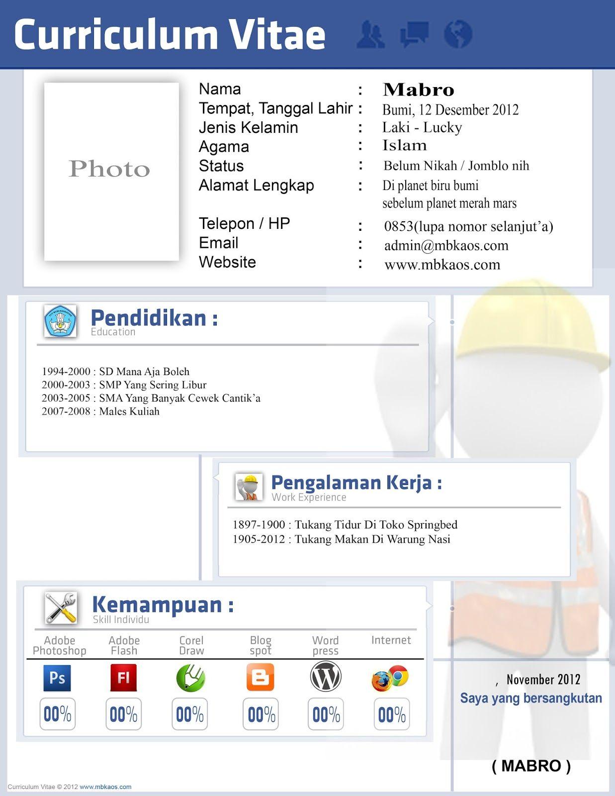 Surat Lamaran Kerja n CV (Dengan gambar) Desain cv