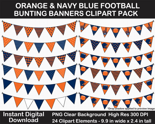 Orange and Navy Blue Football Bunting Banner Clipart Pack ...