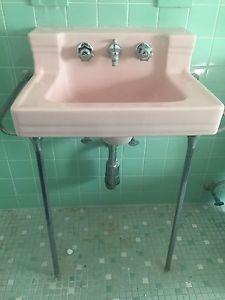 1953 Pink Bathroom Sink By American Standard Ceramic Art Deco
