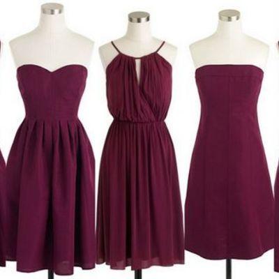 Mismatched purple short chiffon wedding guest dress bridesmaid dresses, fs9365