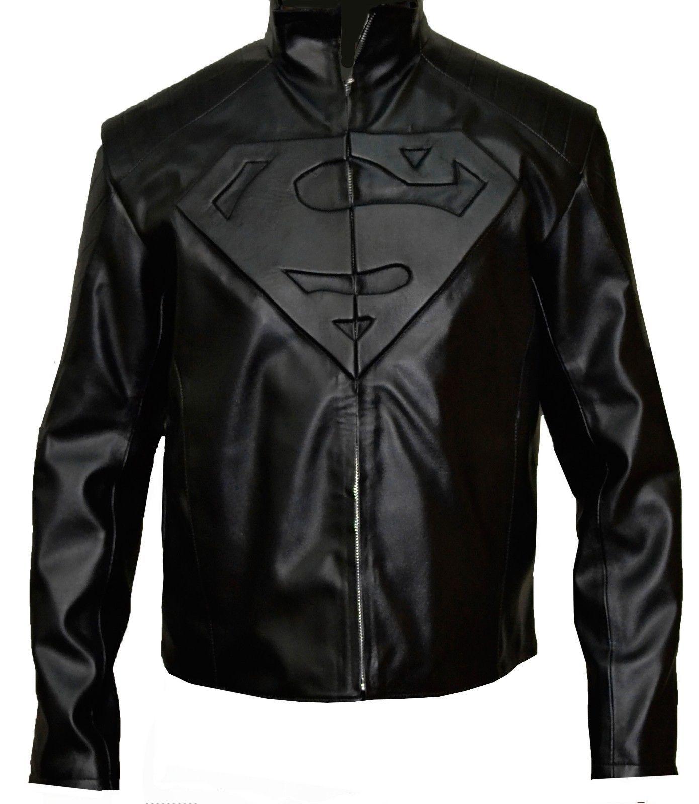 Details about Mans Smallville Superman Biker Costume