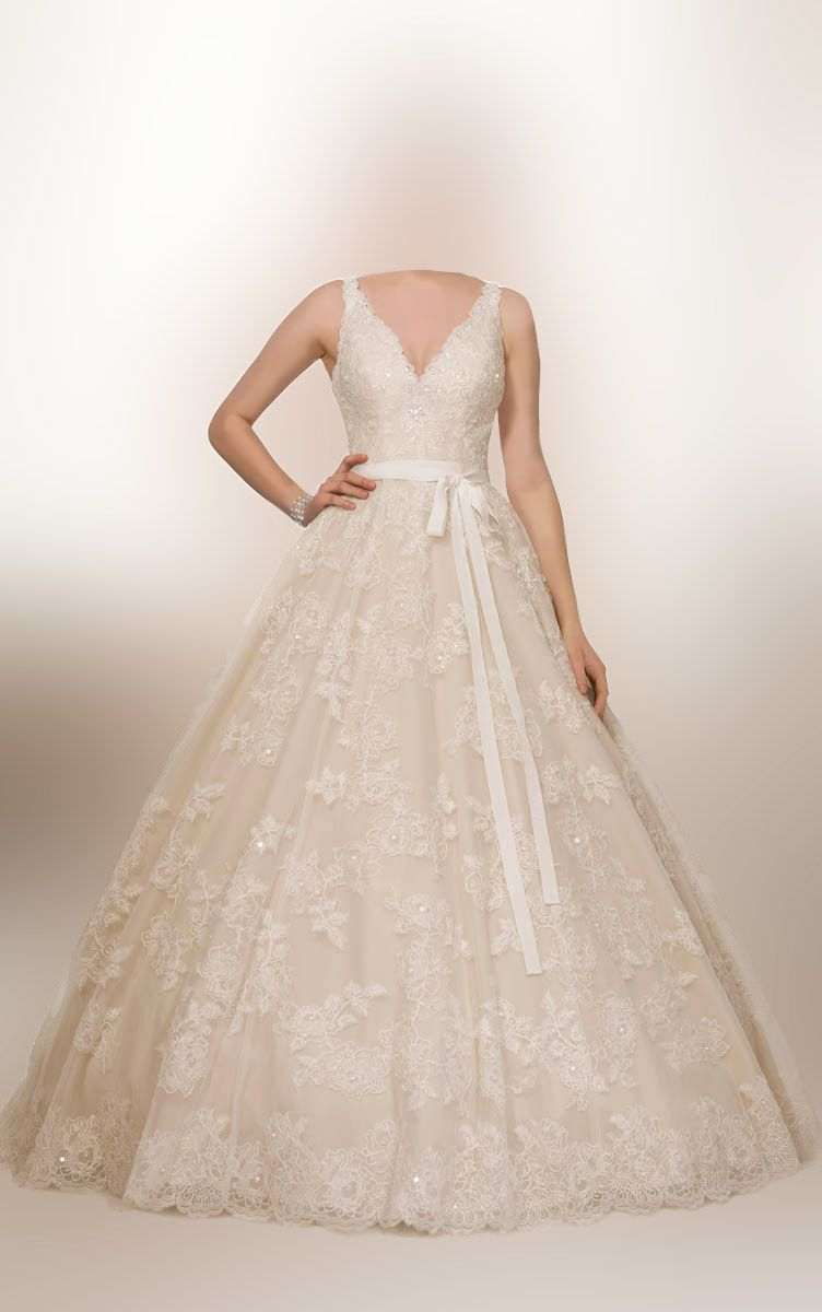 Wedding dresses v neck  Lace Sleeveless Vneck Ball Gown Wedding Dress with Sash  wedding
