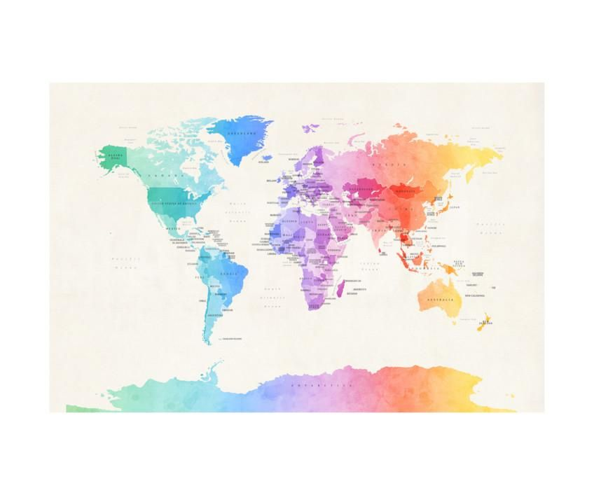 Watercolour political map of the world photographic print by michael michael tompsett watercolour political map of the world canvas wall art wrapped canvas art gumiabroncs Images