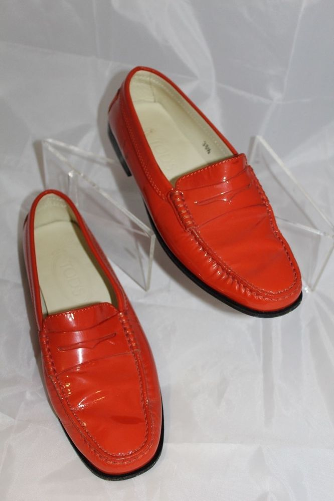2eb2419f3609 TOD S Women s SIZE 6 (36 1 2) RED  ORANGE PATENT LEATHER LOAFER SHOES  Tods   LOAFERS  Casual