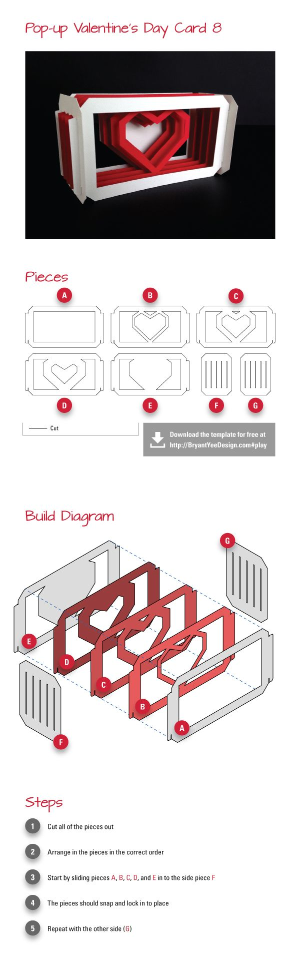 Doityourself Popup Valentines Day Card study 8  Patterns