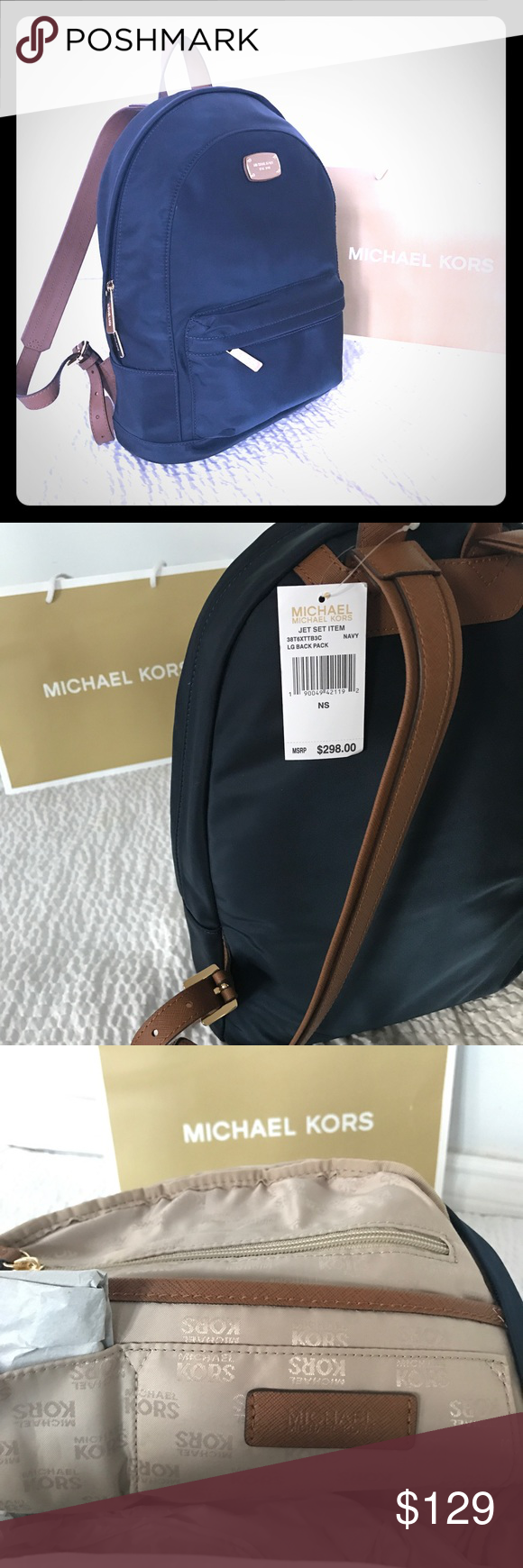1e68d305e1a3 New Authentic MK large Jet Set backpack New Authentic lightweight easy to  clean Michael Kors Jet set backpack in navy with leather adjustable long  shoulder ...