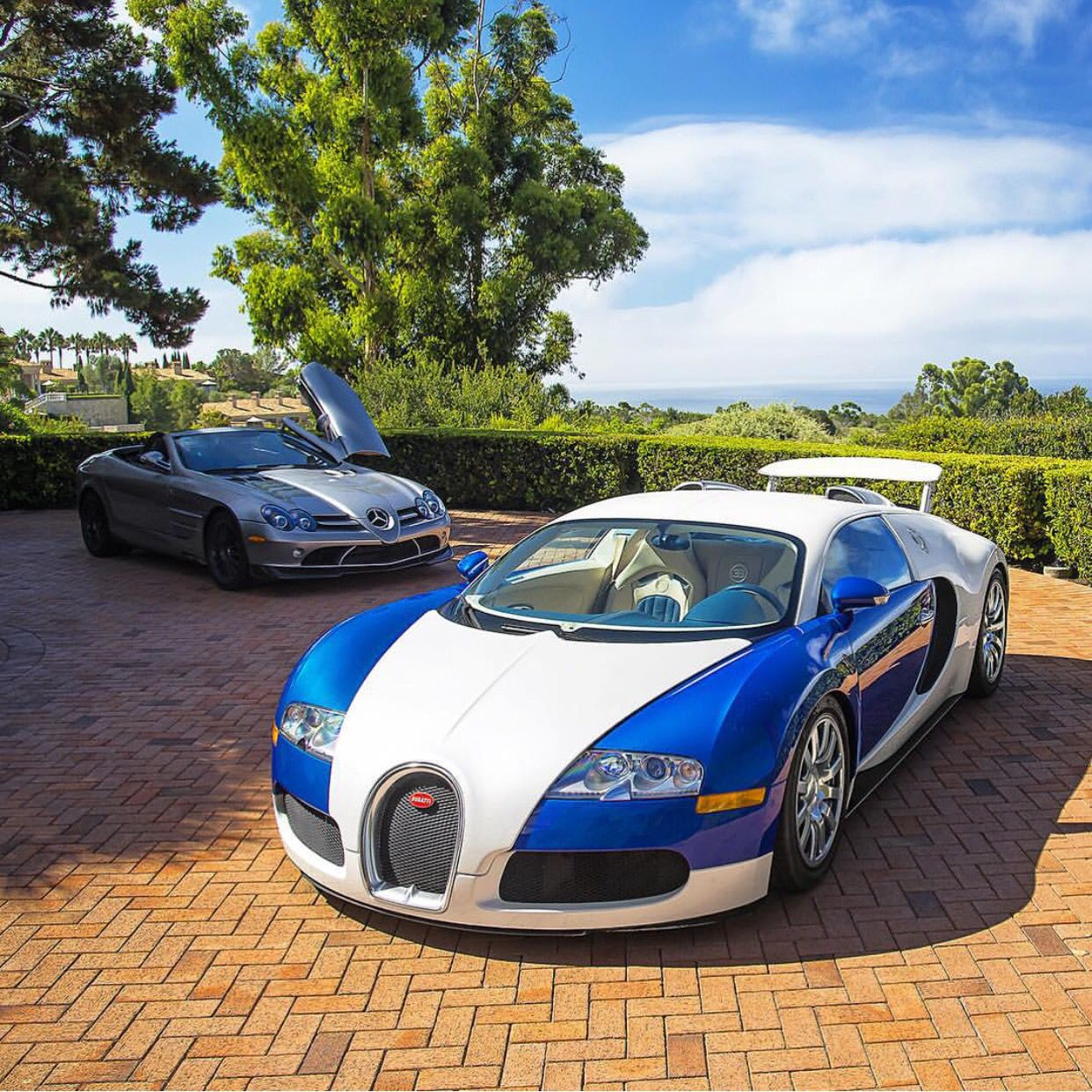 Bugatti Veyron Roadster: Bugatti Veyron Painted In Blue And White And A Mercedes