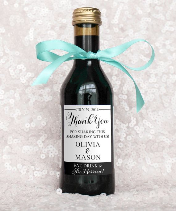 Mini Wine Bottle Label Wedding Favors Thank You by paperandlace - free wine bottle label templates