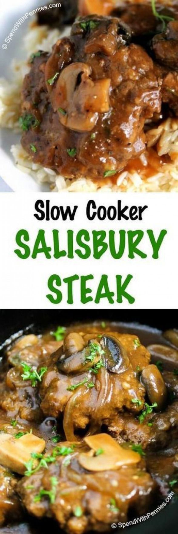 Cooker Salisbury Steak is one of our favorite comfort foods. Tender beef patties simmered in rich brown gravy with mushrooms and onions. This is perfect served over mashed potatoes rice or pasta!