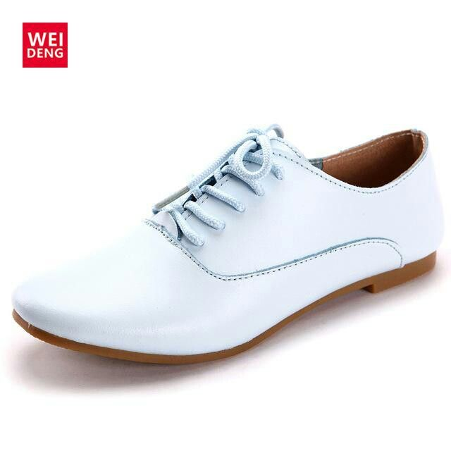 Woman Genuine Leather Preppy Office Style Lace Up Casual Pointed flat