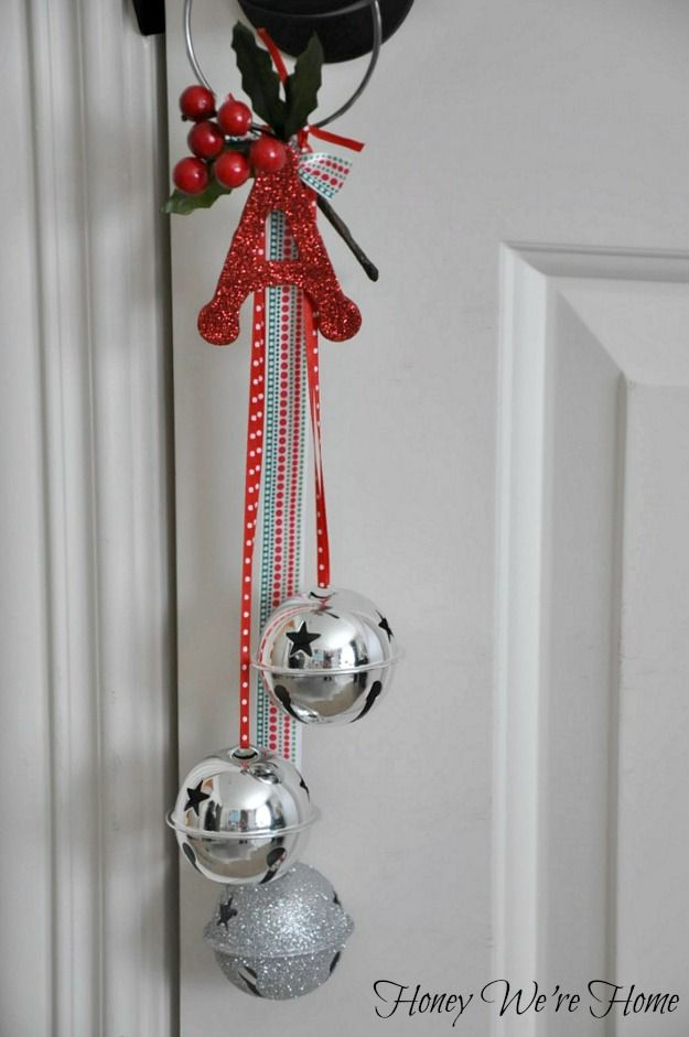 Christmas Craft Jingle Bell Door Hangers Sticker Magnets Stunning Silver Bells Decorations