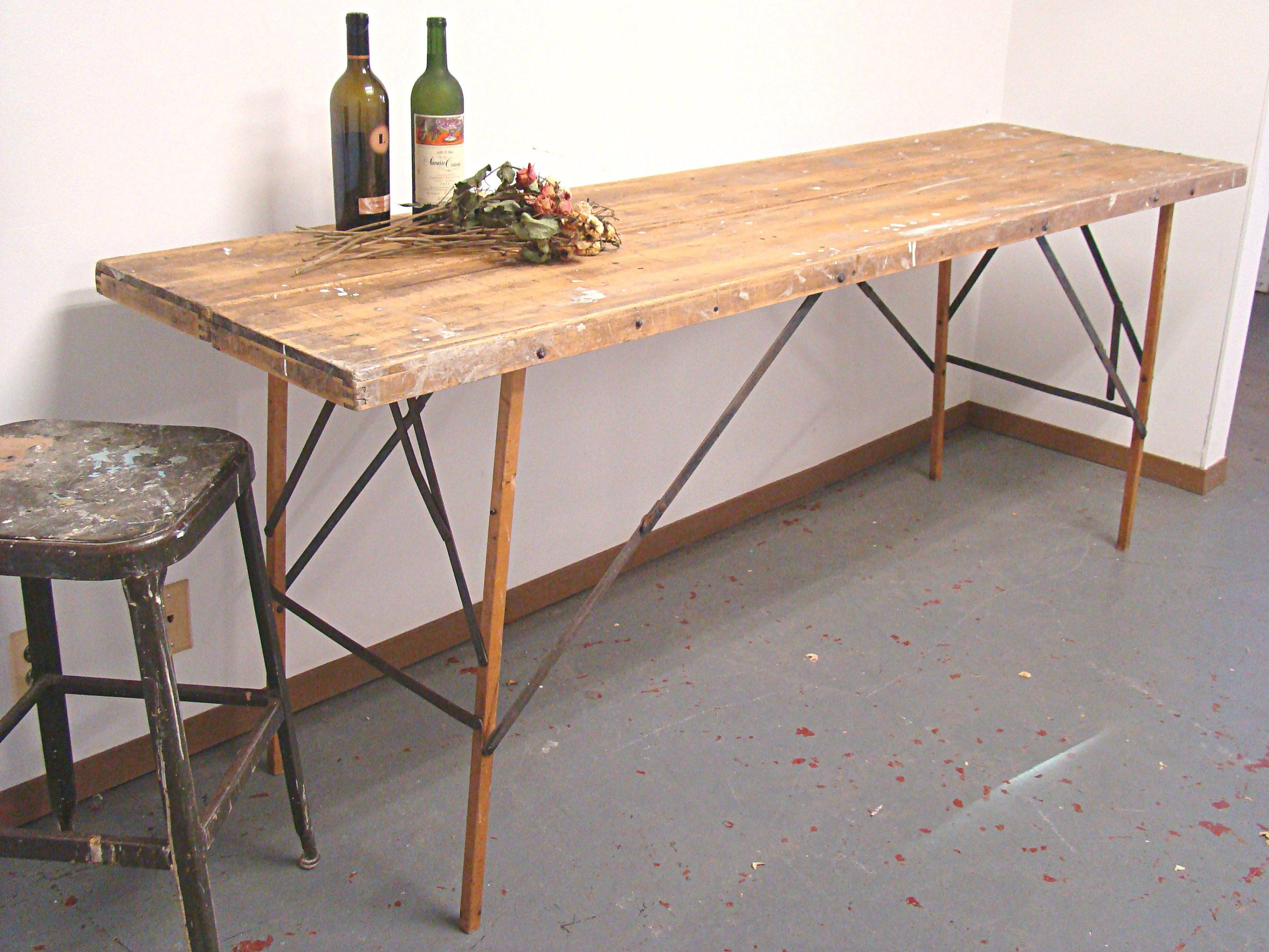 Vintage Wallpaper Table Folding Table Wood Work Surface Farmhouse Decor Industrial Decor Workbench Long Wood Folding Table Bar Table Diy Folding Table