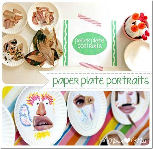 kiddo craft: Paper Plate Portraits | from Mamamiss varianti possibili: - si possono usare altri supporti al posto dei piatti di carta oppure - combinare tecnica collage con disegno