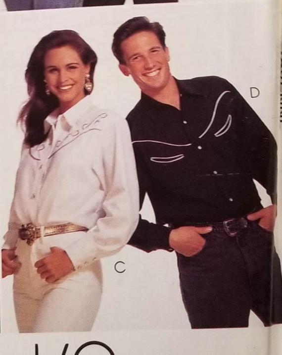933d81859cefe Vintage McCall s Western Shirt Pattern P416 1982 Size Medium 34 36 Men  Women Boys Uncut Free Shippin