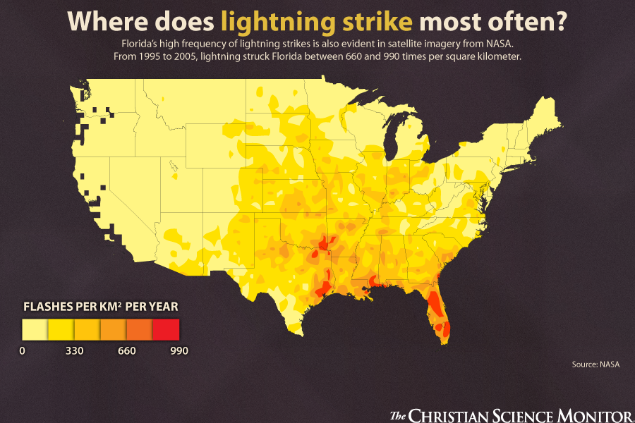 Five Weather Myths Debunked Maps Weather Map Infographic - Us-lightning-strike-map
