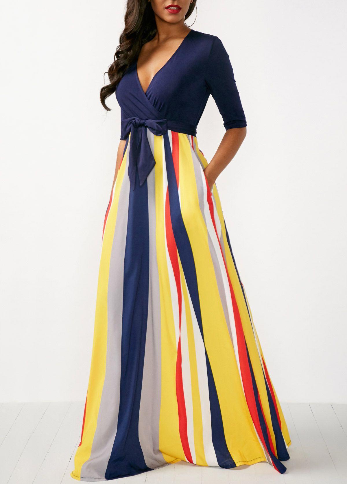 0d25b787dbd Striped V Neck Half Sleeve Maxi Dress in 2019