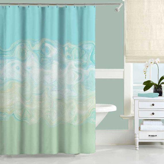 Abstract Shower Curtain Set Mint Green Aqua Blue Bath Curtain And