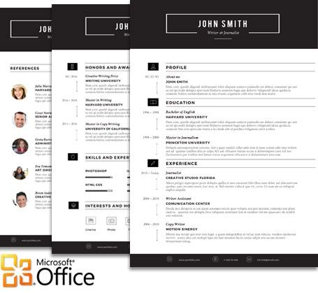 Sleek Resume Template For Microsoft Word Office  Our Creative