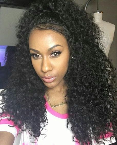 Frontal Half Up Half Down Curly Hair Curly Hair Styles Front Lace Wigs Human Hair Indian Remy Human Hair
