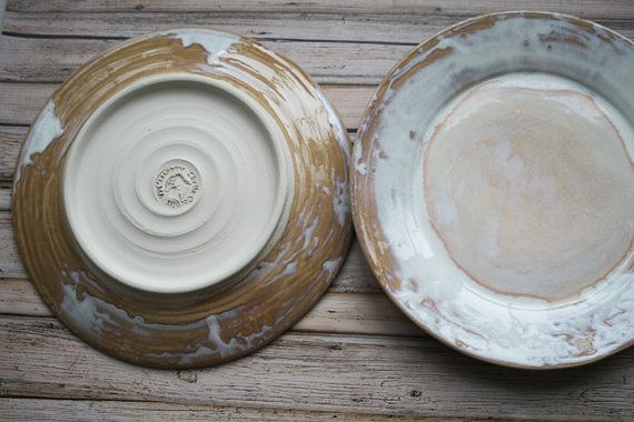 Two Extra Large Rustic Dinner Plates Handmade Ceramic Dishes Dripping White and Ocher Glaze Stoneware Dinnerware Ready to Ship Made in USA & Two Extra Large Rustic Dinner Plates Handmade Ceramic Dishes ...