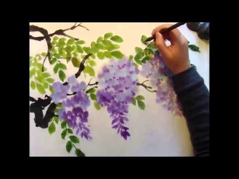 Wisteria Chinese Brush Painting Demonstration By Jane Evans To
