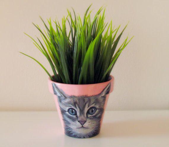 Cat flower pot cat portrait cat painting hand by LetitiasArt