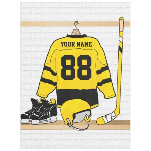 Personalized Yellow And Black Ice Hockey Jersey Fleece Blanket Zazzle Com Ice Hockey Jersey Hockey Jersey Ice Hockey
