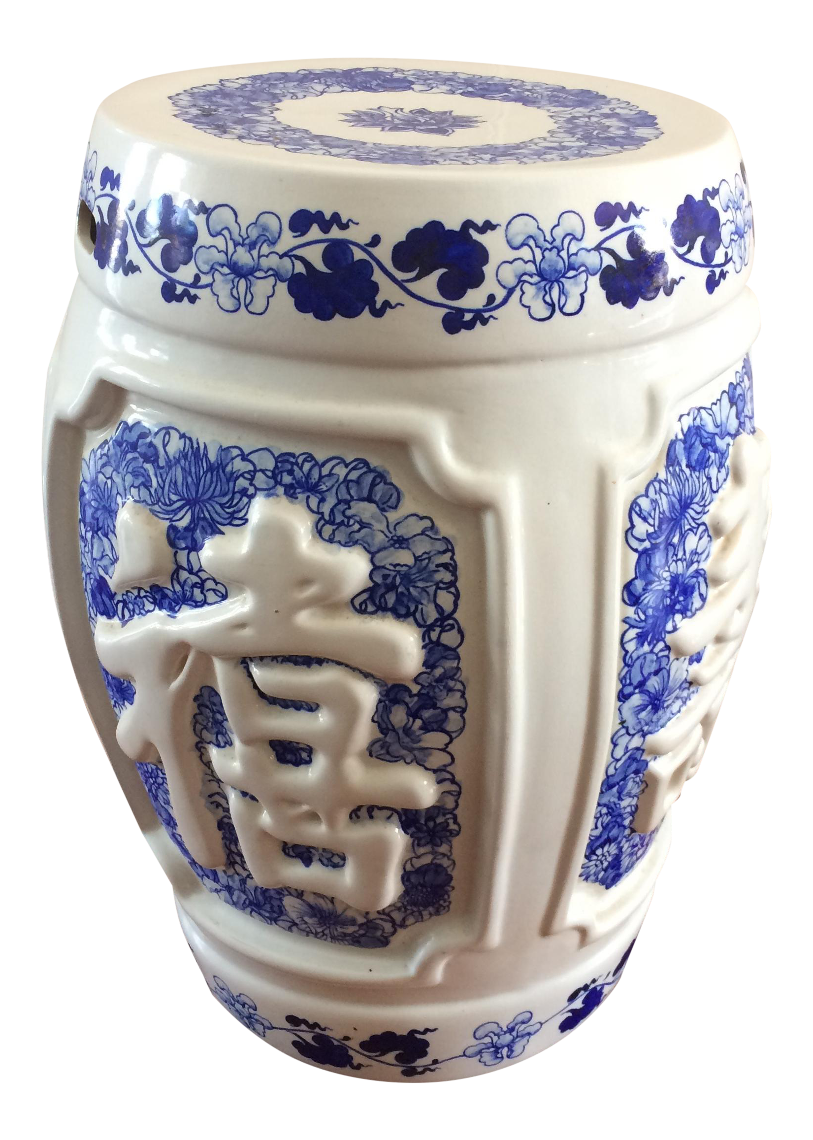 Vintage 3D Chinese Ceramic Garden Stool