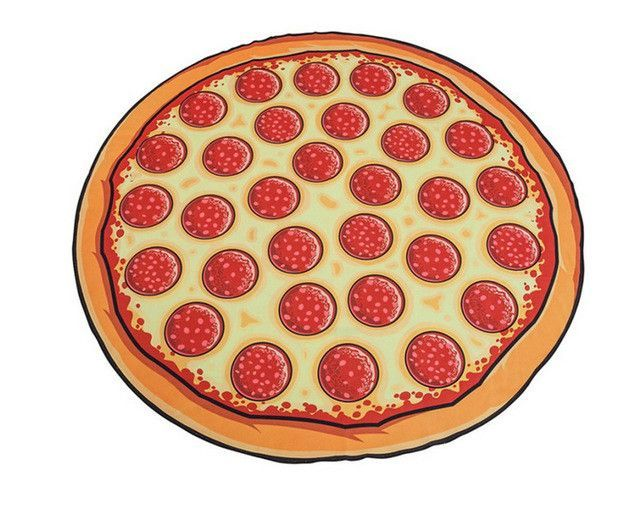 150cm Cartoon Round Beach Towel Pizza Hamburger Printed Manta De