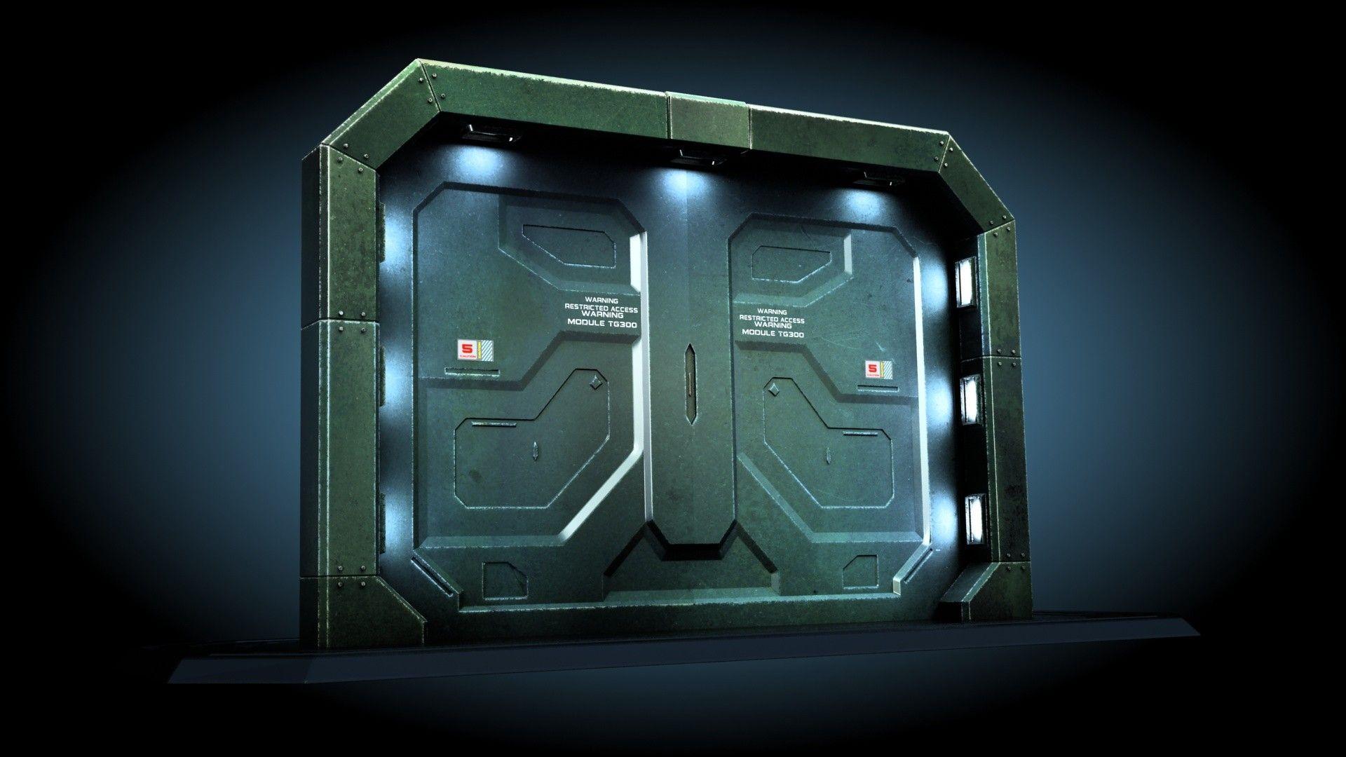 3ds Max Sci Fi Gate Door 3d Model Wall Paneling