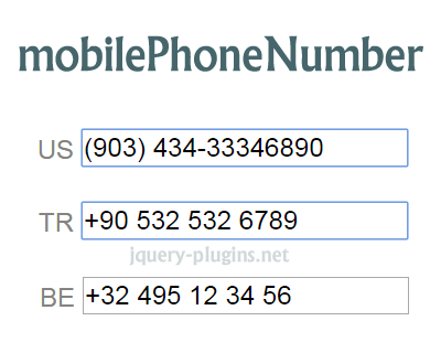 Jquery Mobilephonenumber Library For