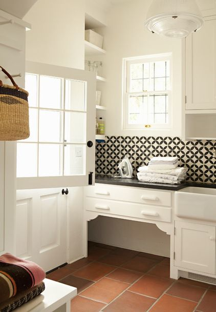 True Identity Concepts Dutch Door Combined With Geometric Wall Tile Floor Tile And Farmsink Make This A Great Mudroom Laun Built In Dog Bed Home Room Design