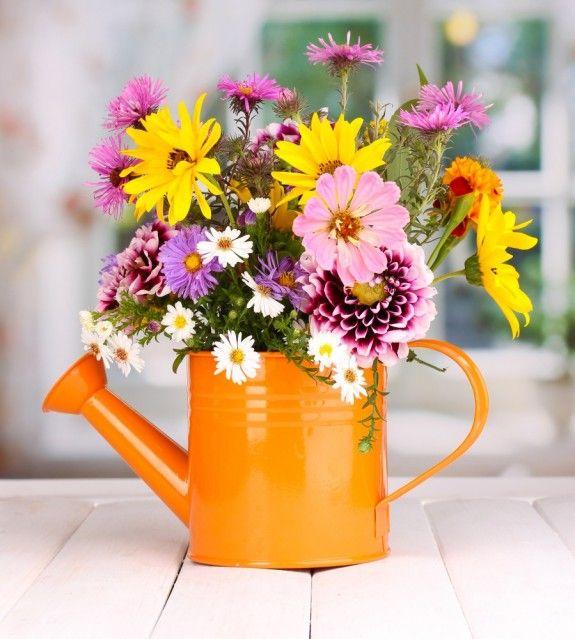 Tischdeko blumen einfach  Fröhlich und originell: die Blumen einfach in der Gießkanne auf ...
