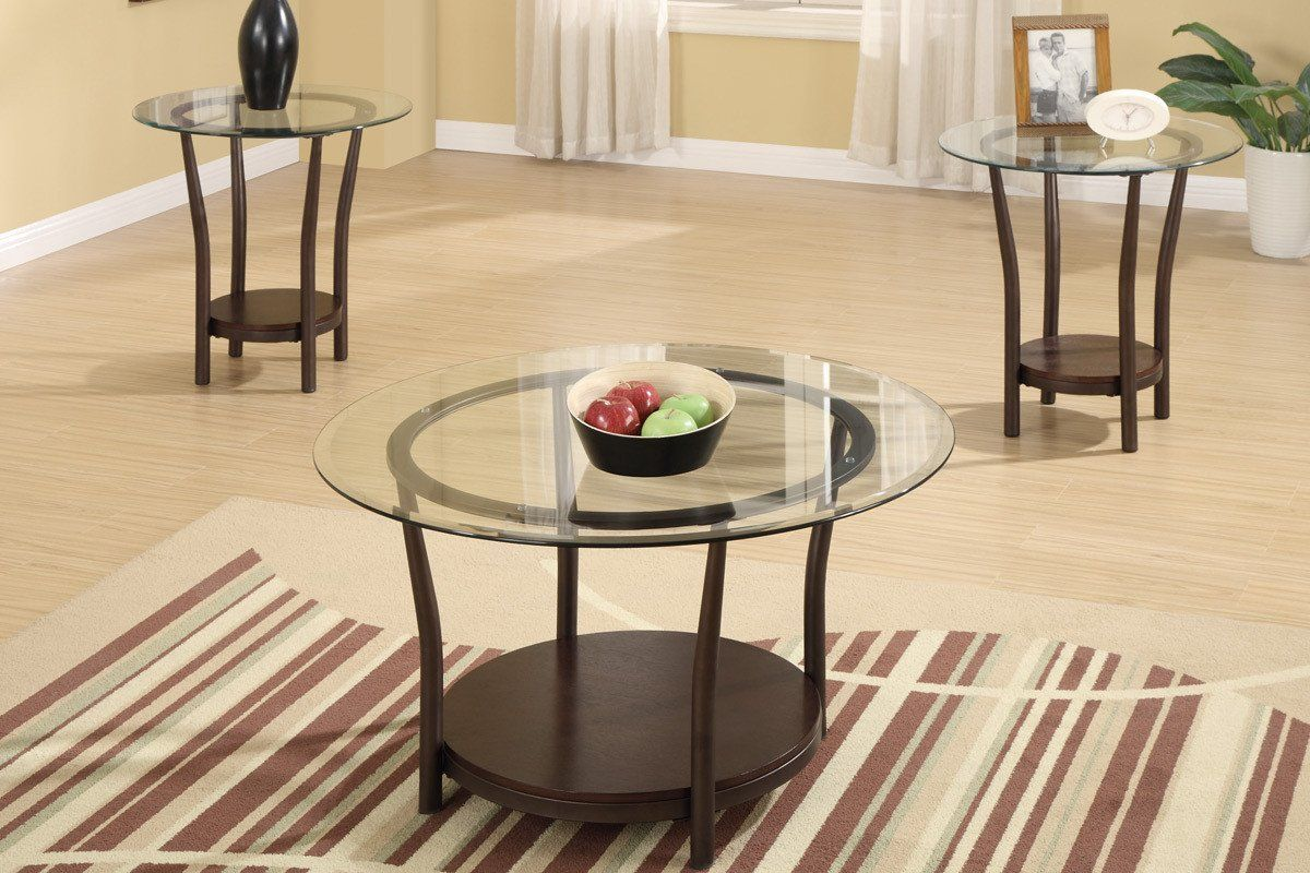 Poundex F3095 3 Pcs Coffee Table Set Piece Round