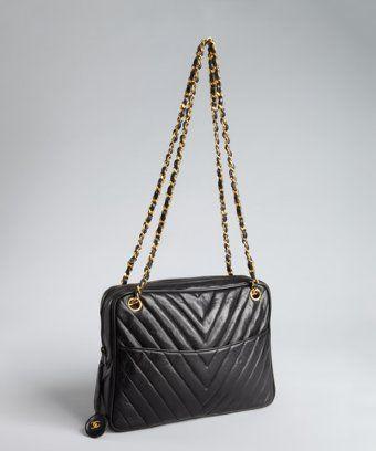 Chanel : black chevron quilted leather shoulder bag