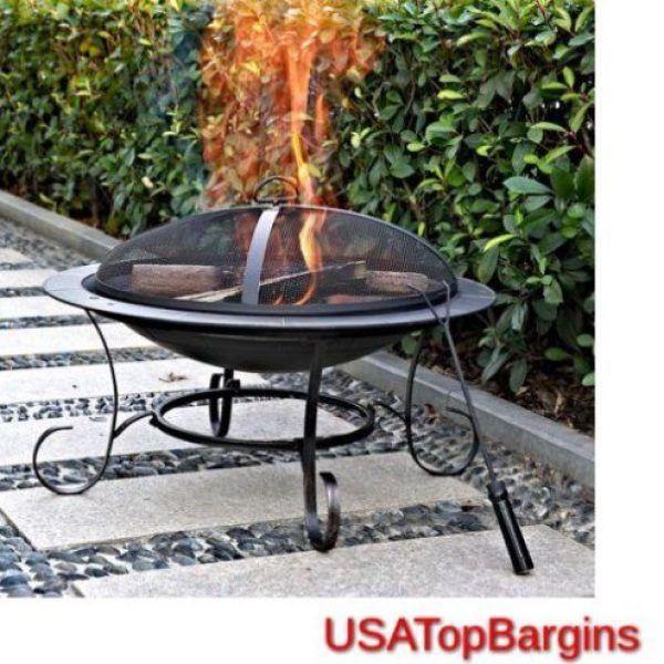 Round 30u2033 Fire Pit Outdoor Patio Garden Backyard Stove Firepit Steel Durable