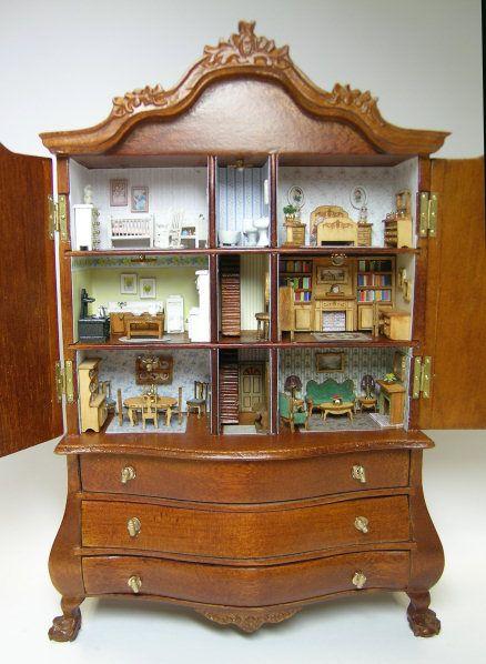 1:12 Dollhouse Miniature Furniture Room Vintage Wooden Wardrobe Door Can Open A