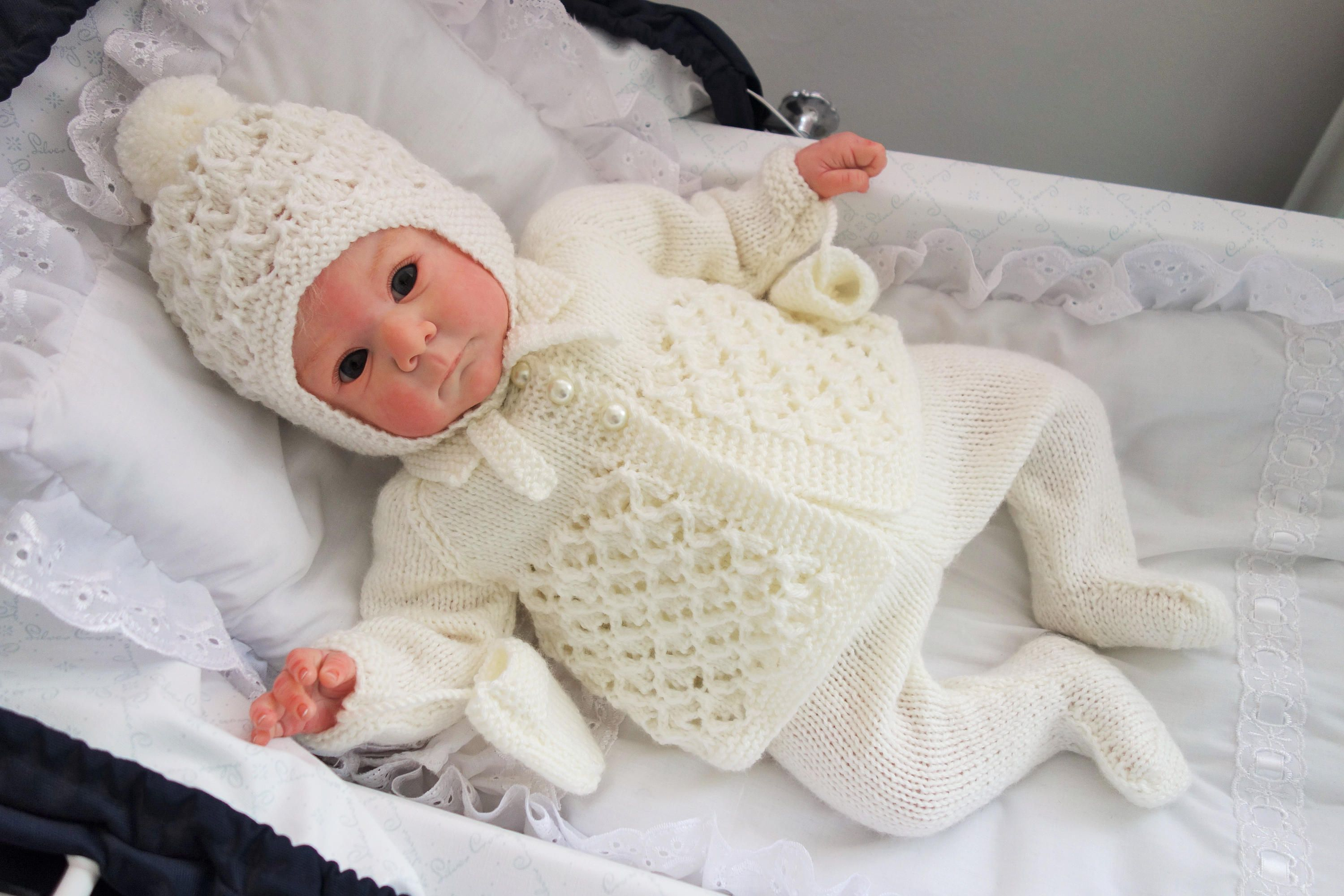 c9787340e Traditional hand knitted baby pram set - leggings