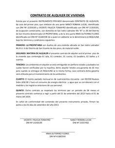 CONTRATO DE ALQUILER DE VIVIENDA Conste por el presente INSTRUMENTO PRIVADO…