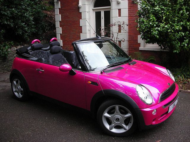 pink mini cooper girly cars for female drivers love pink cars it 39 s the dream car for every. Black Bedroom Furniture Sets. Home Design Ideas