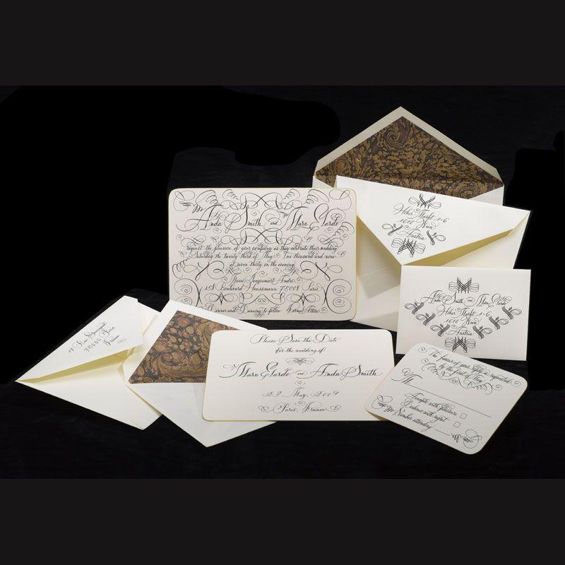Bernard Maisner wedding invitation suite