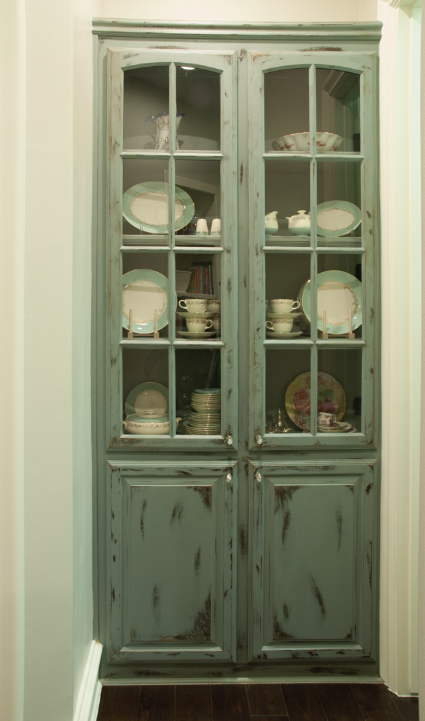 Existing built-in painted to look vintage.