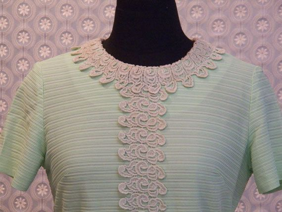 Vintage Jade Green Line A Dress with Natural Lace by ellauniverse, $57.00