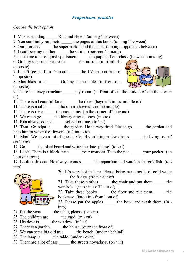 Prepositions Practice Preposition worksheets, Grammar