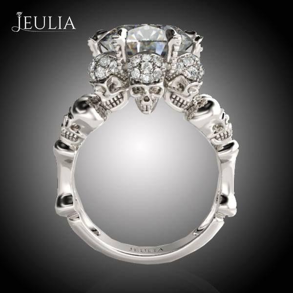 four skull round cut created white sapphire skull ring - Skull Wedding Ring Sets