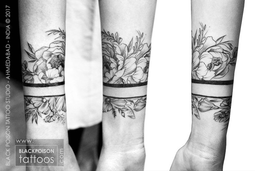 195ea31517c09 Wrist Band Tattoo symbolize wealth, good fortune and prosperity. Peony is a  strong symbol of beauty, fragility and transitory nature of existence.