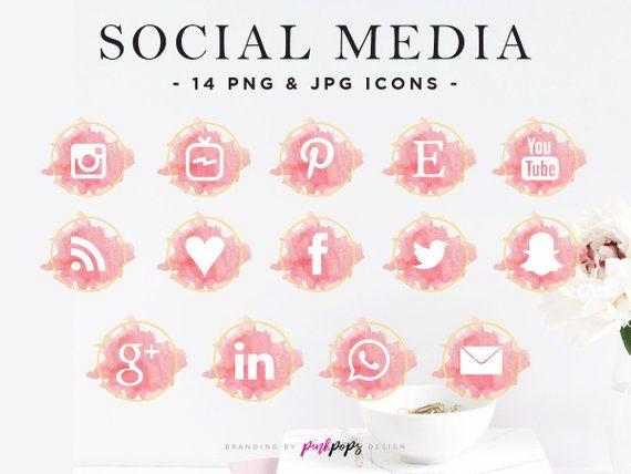 Blush Pink Gold Social Media Icons Blush Gold Social Etsy Social Media Icons Snapchat Icon Social Media Icons Free