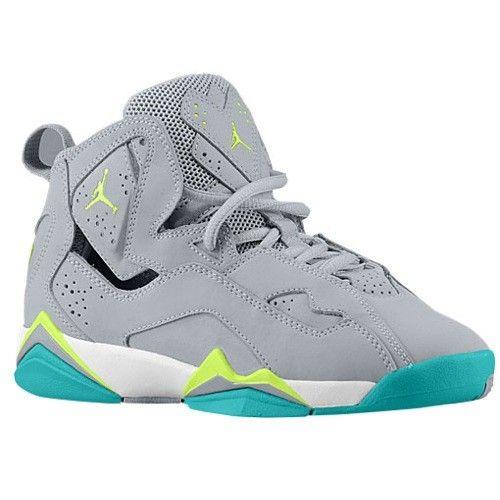 51dcbb5def224b Jordan Girls True Flight Grade School Wolf Grey Turbo Green Volt Ice White  Shoes