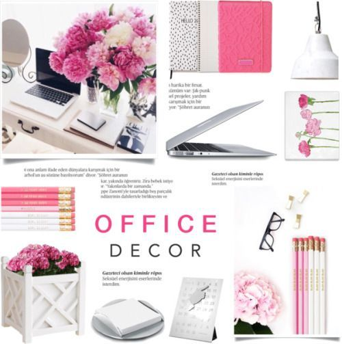 floral office decor by c silla featuring pink office accessories