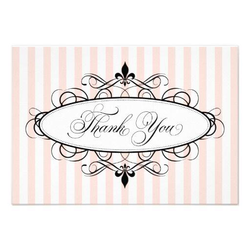 Thank You Flat Note Cards | Blush Fleur De Lis